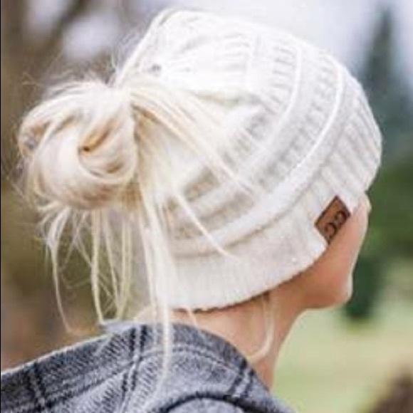 LAST ONE White Cream Beanie Messy Bun Ponytail Hat 5575b714b4e